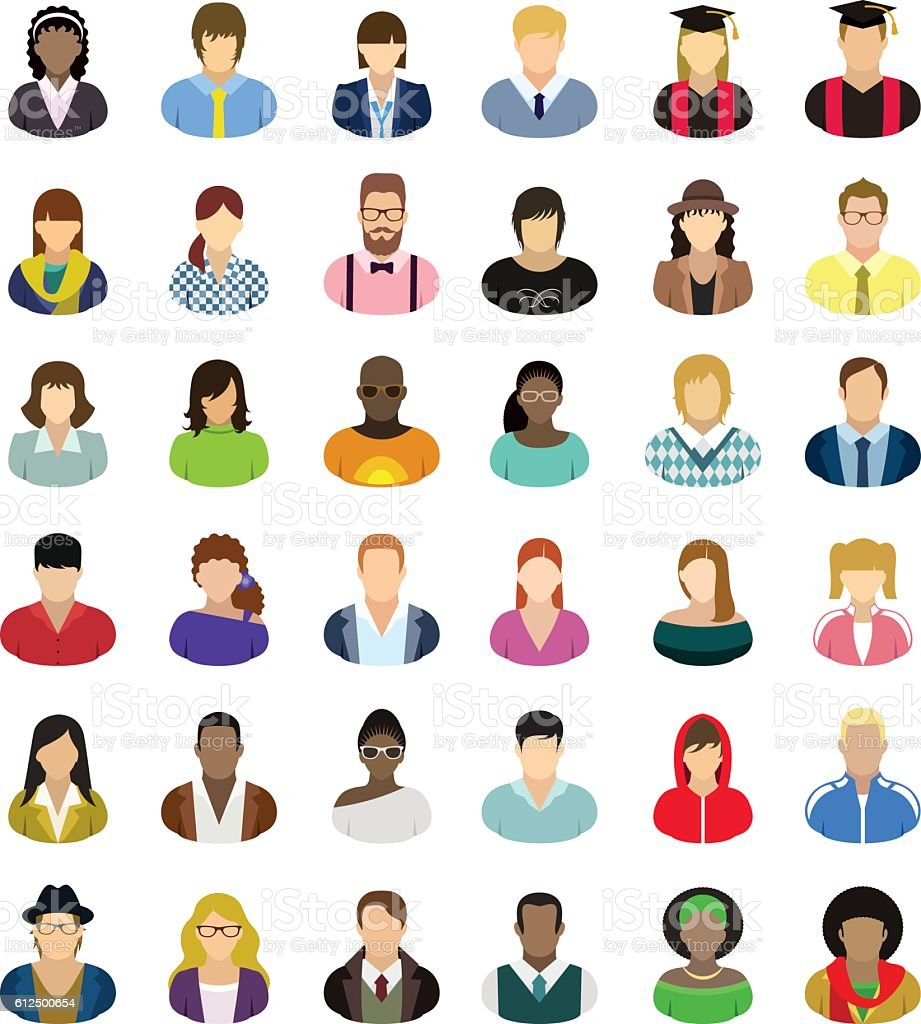 Vector characters - icon set. vector art illustration
