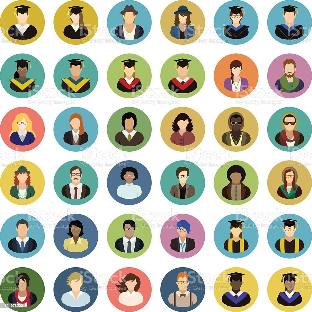 Vector characters (university, college, school). People icon set. vector art illustration