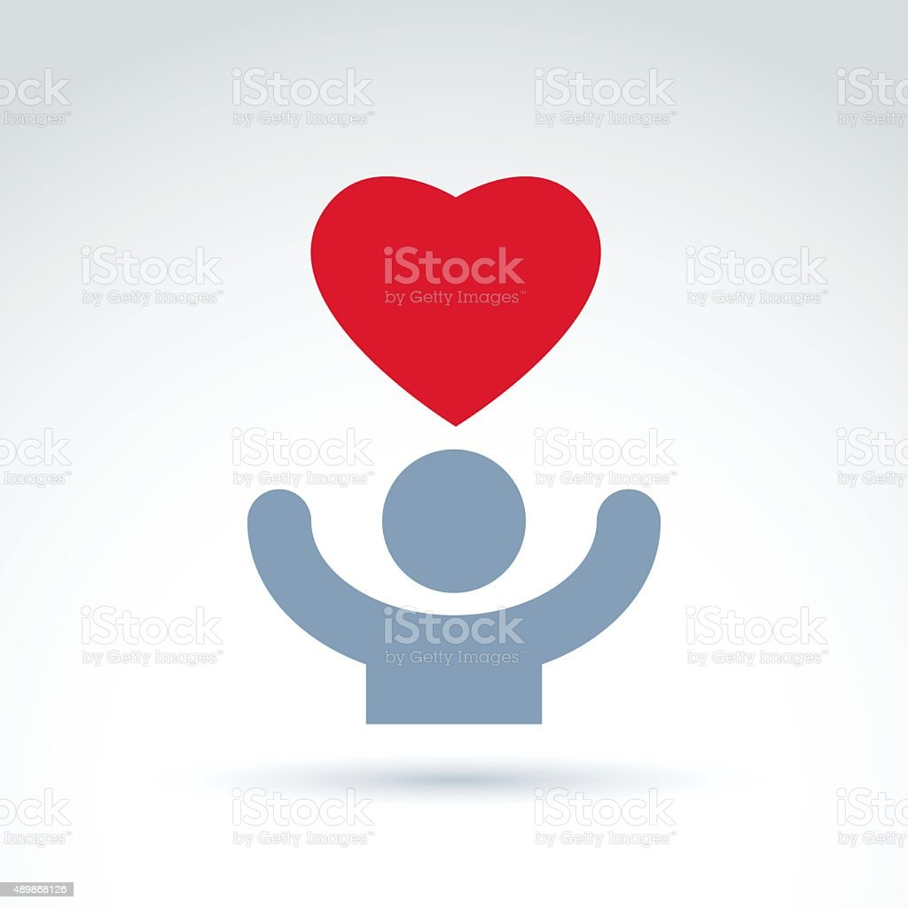 Vector charity and donation symbol. Illustration of red heart vector art illustration