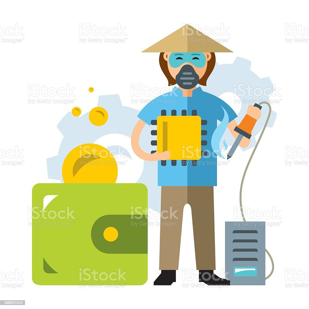 Vector Cheap Asian labor. The savings in the production of vector art illustration