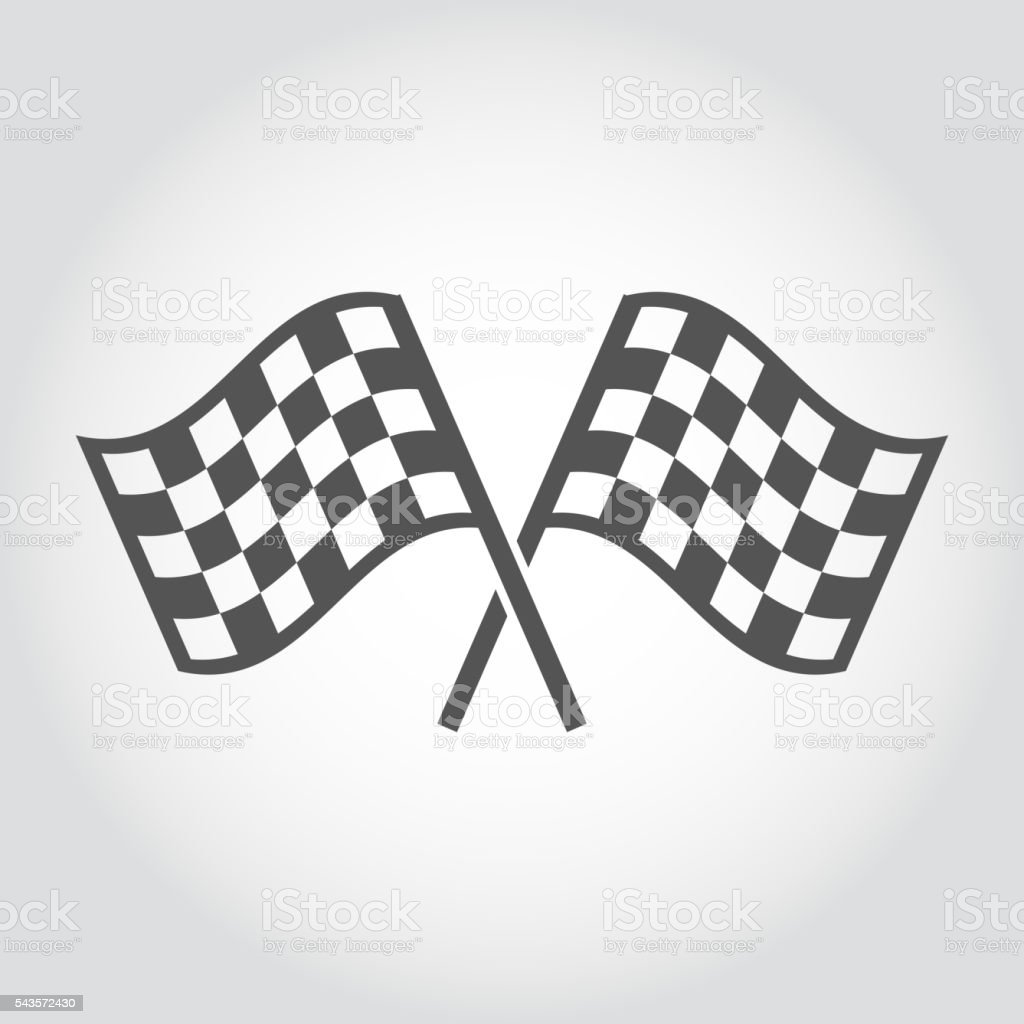 Vector checkered flags icons set vector art illustration