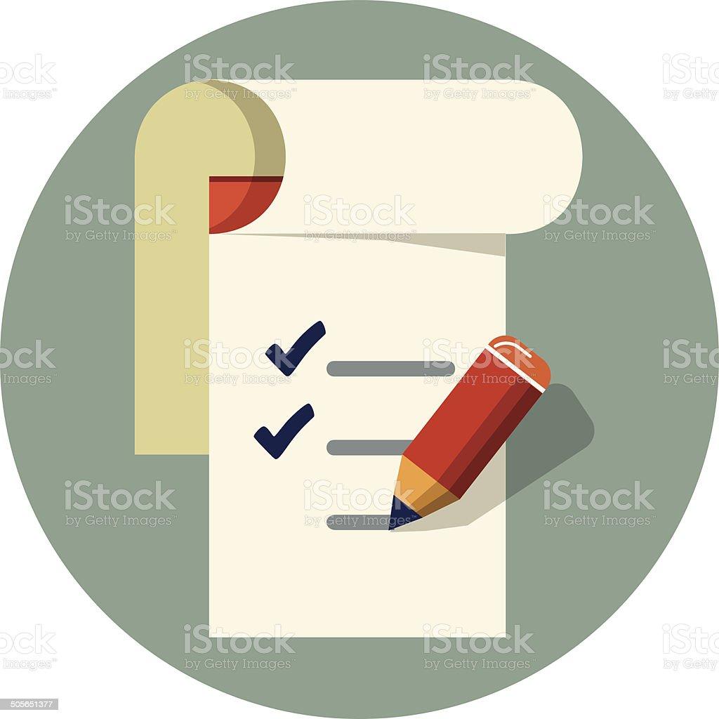 Vector checklist with pencil vector art illustration