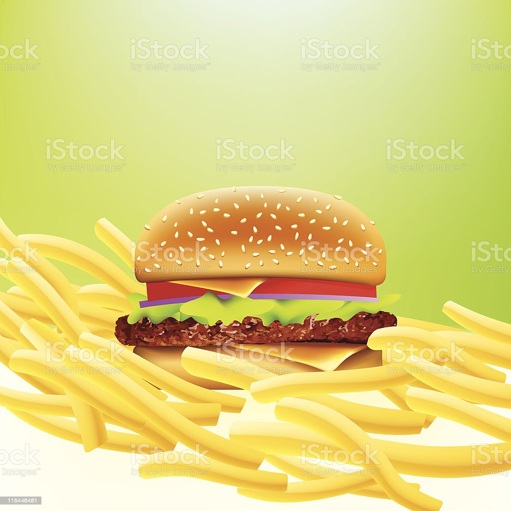 vector cheeseburger and fries vector art illustration