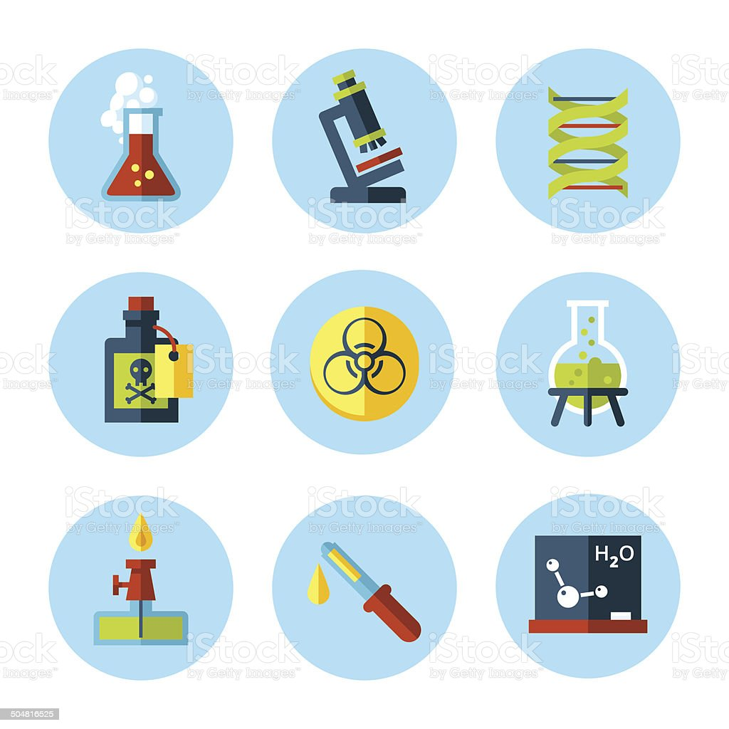 Vector chemistry icon set in modern flat style. vector art illustration