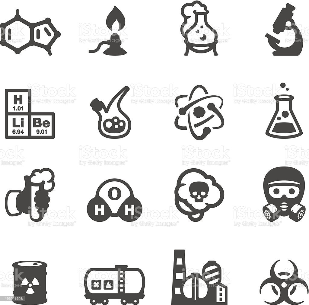 Vector chemistry-themed icon set vector art illustration
