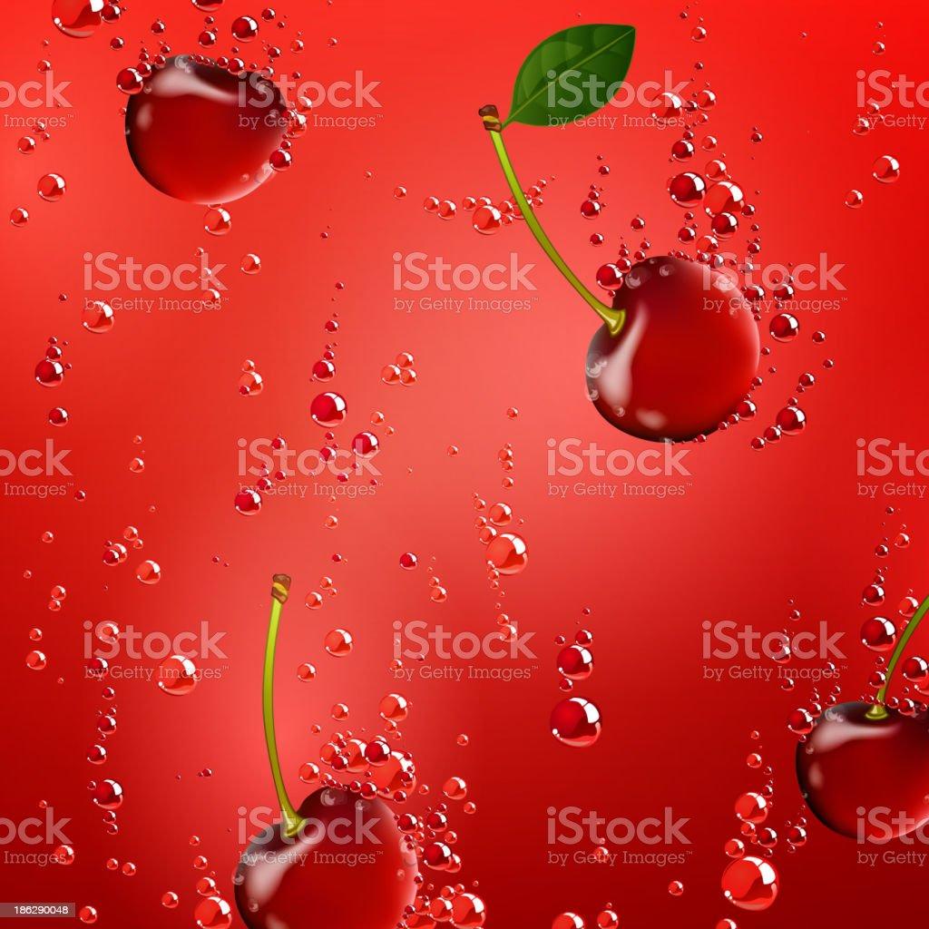 Vector Cherries Falling in Liquid royalty-free stock vector art