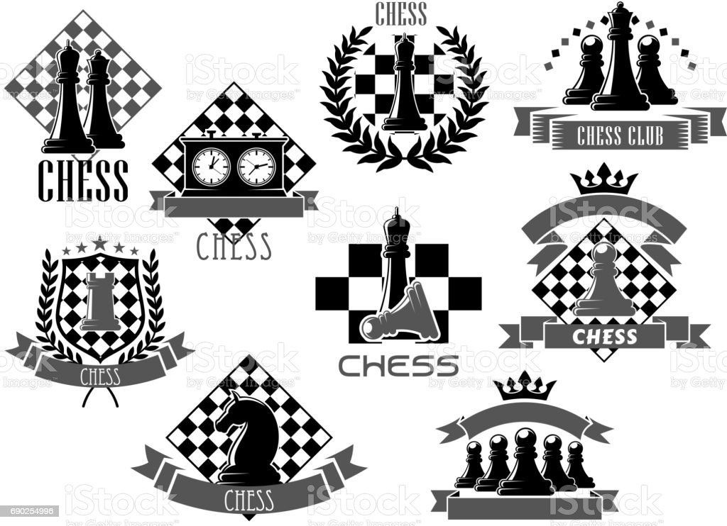 Vector chess icons for game club contest vector art illustration