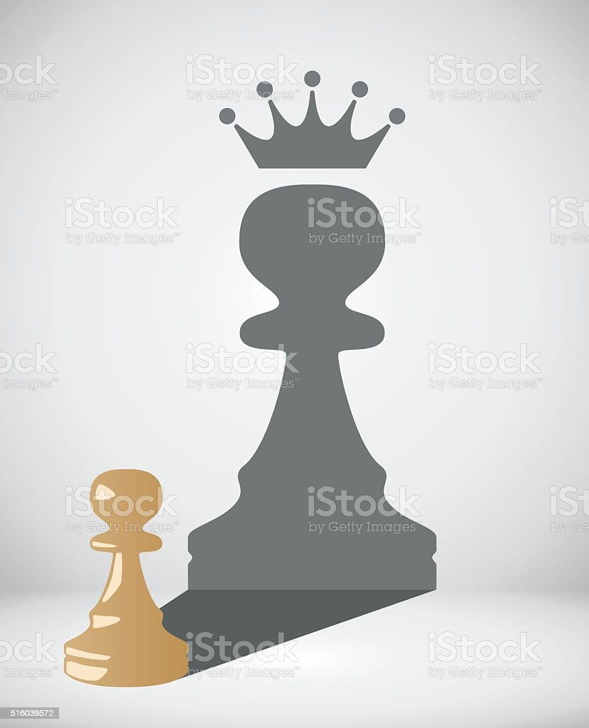 vector chess pawn with the shadow of a big king vector art illustration