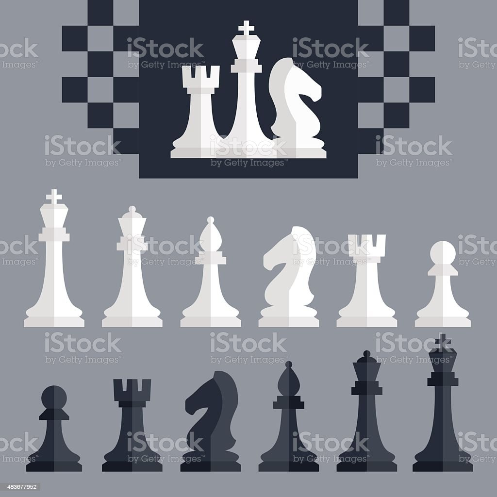 Vector chess pieces icons set, flat style vector art illustration