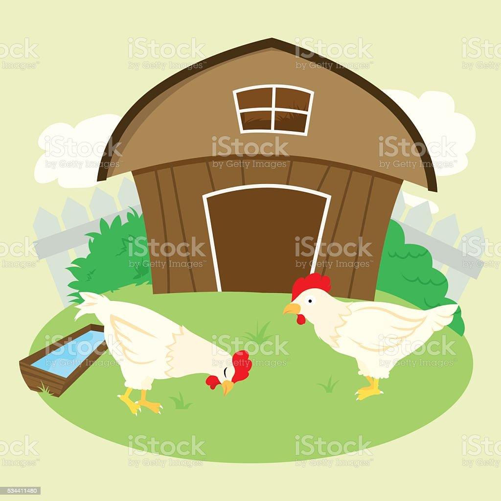 Vector Chicken Farm vector art illustration