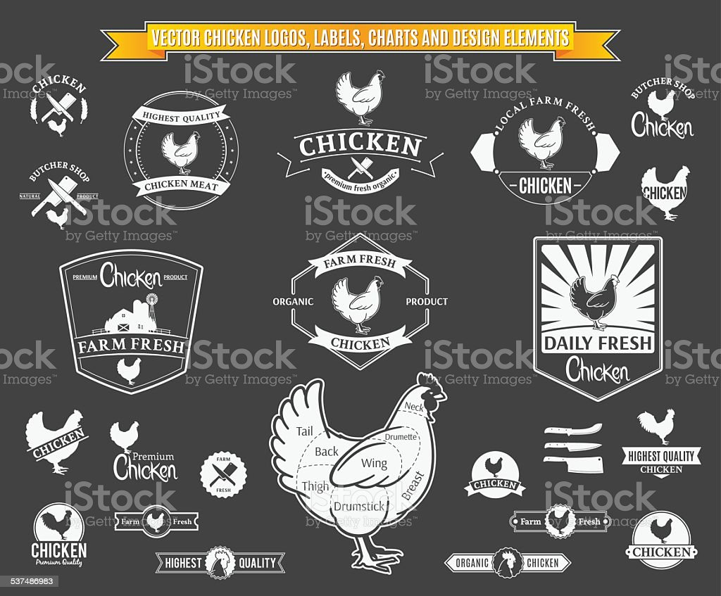 Vector Chicken Logos, Labels, Charts and Design Elements vector art illustration