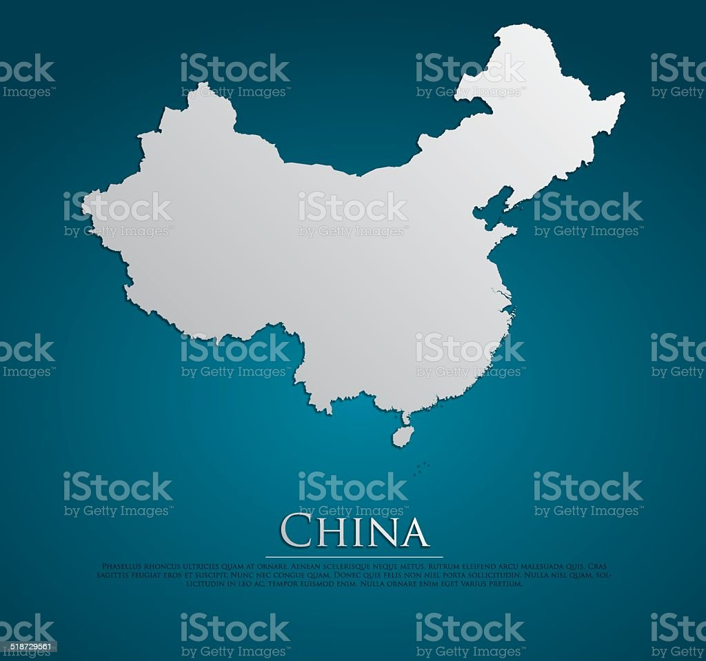 vector China Map card paper vector art illustration