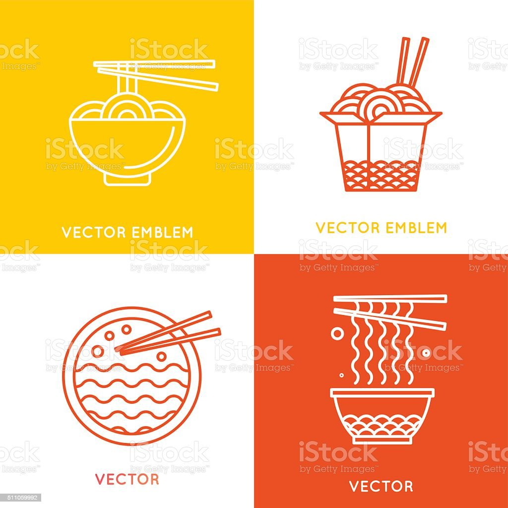 Vector chinese and asian food concepts vector art illustration
