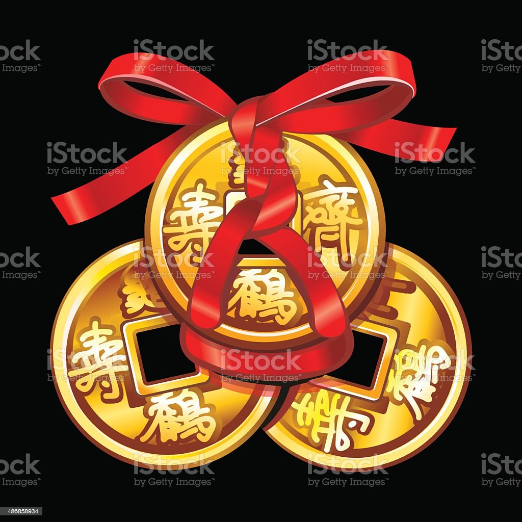 Vector Chinese coin tied with red ribbon. vector art illustration