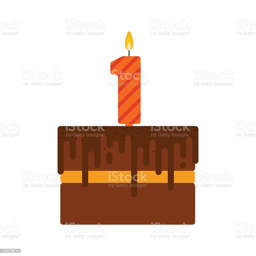 Vector chocolate biscuit birthday cake with a candle number 1 vector art illustration