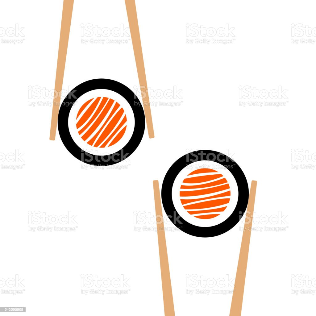 Vector chopsticks hHolding sushi roll frame vector art illustration