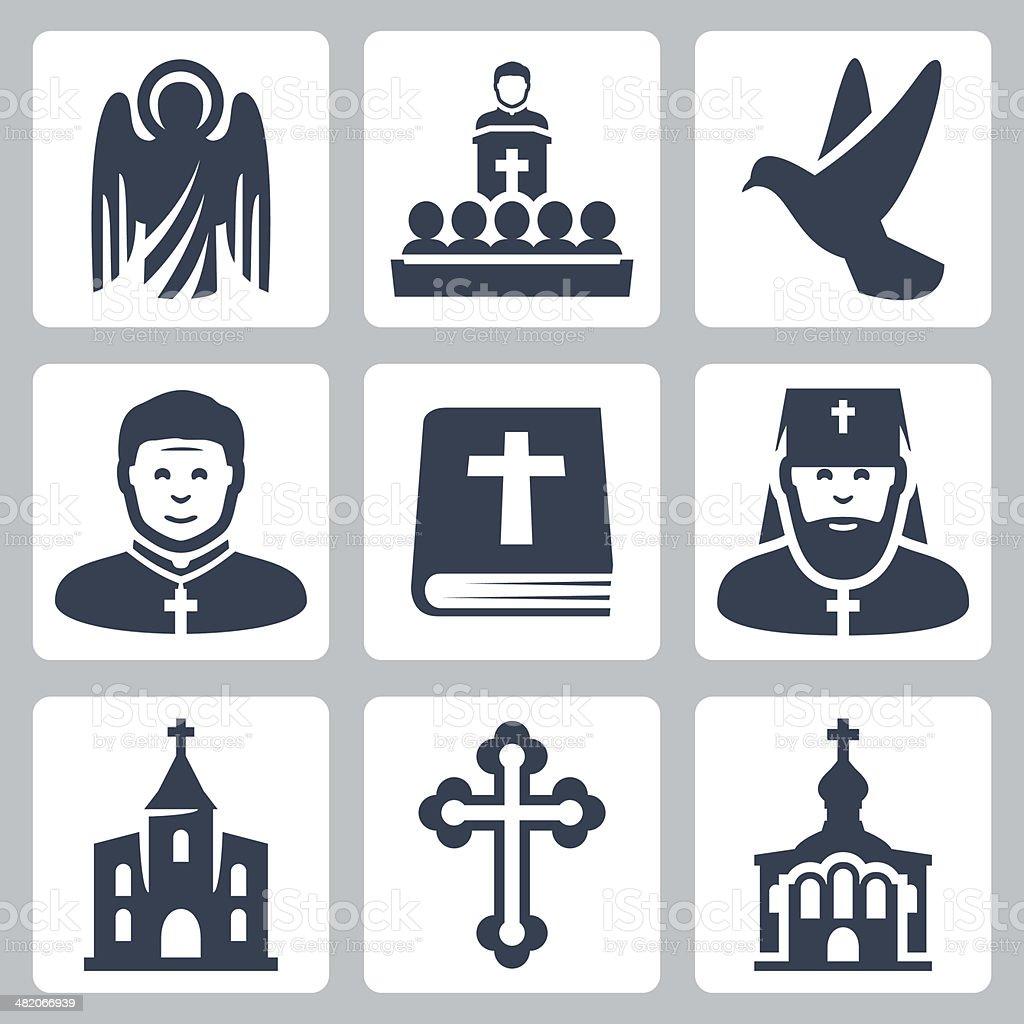 Vector Christian religion icons set royalty-free stock vector art