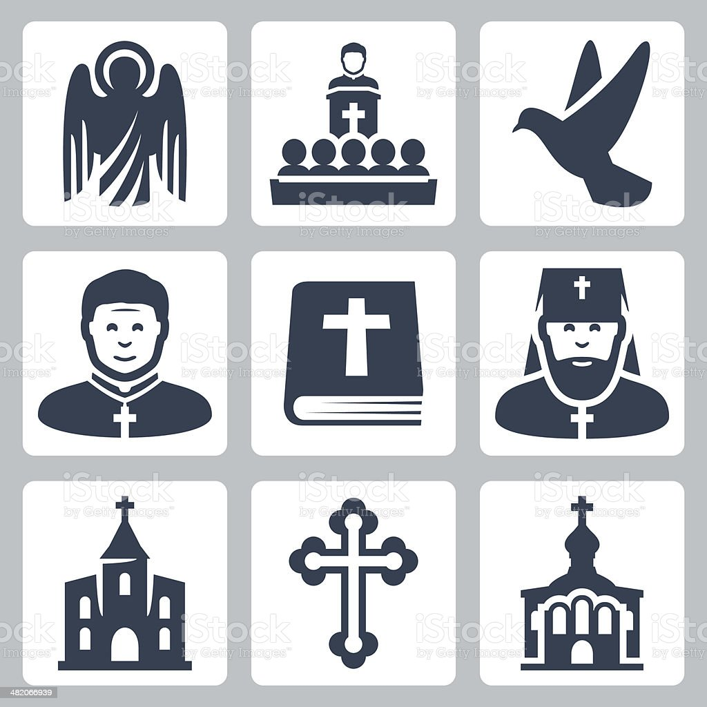 Vector Christian religion icons set vector art illustration