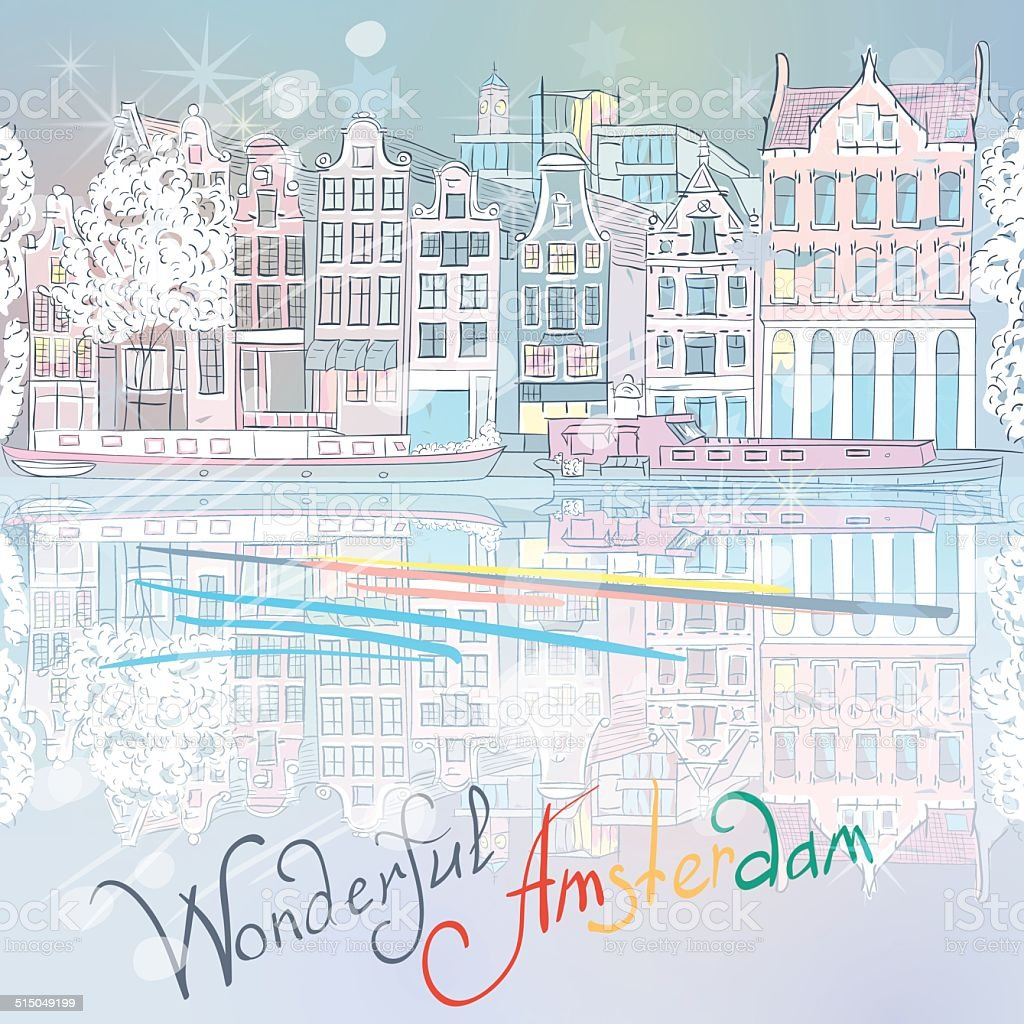 Vector Christmas Amsterdam canal and typical houses vector art illustration