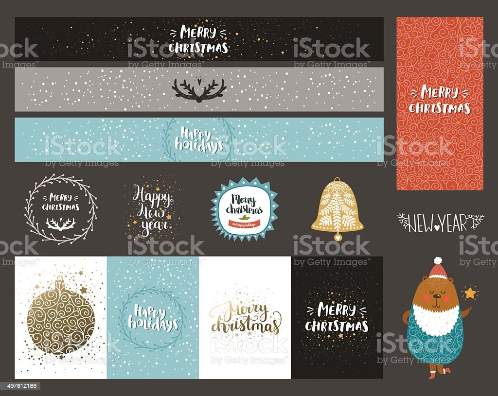 Vector Christmas and New year collection vector art illustration