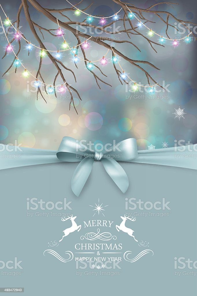 Vector Christmas and New Year greeting card vector art illustration