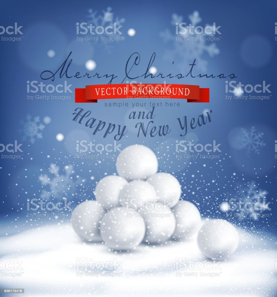 vector Christmas background with a bunch of snowballs vector art illustration