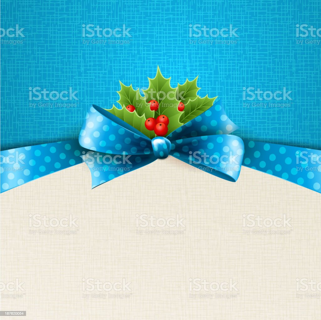 Vector christmas background with  bow and holly royalty-free stock vector art