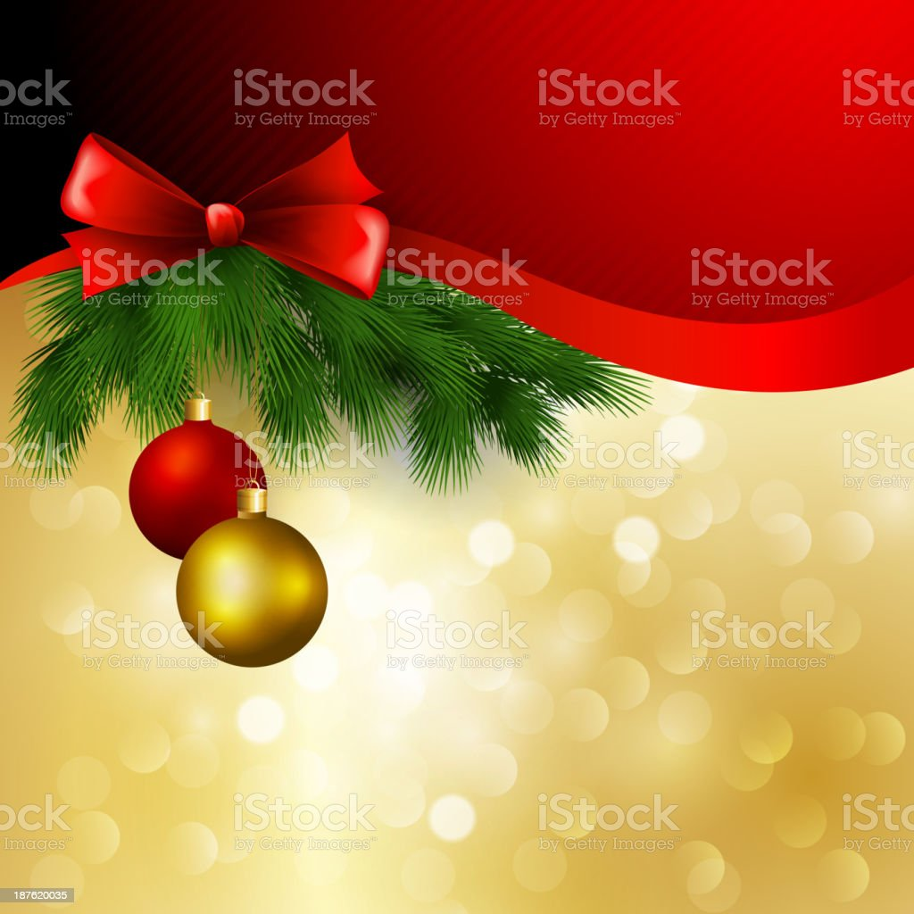 Vector christmas background with ribbon and balls royalty-free stock vector art