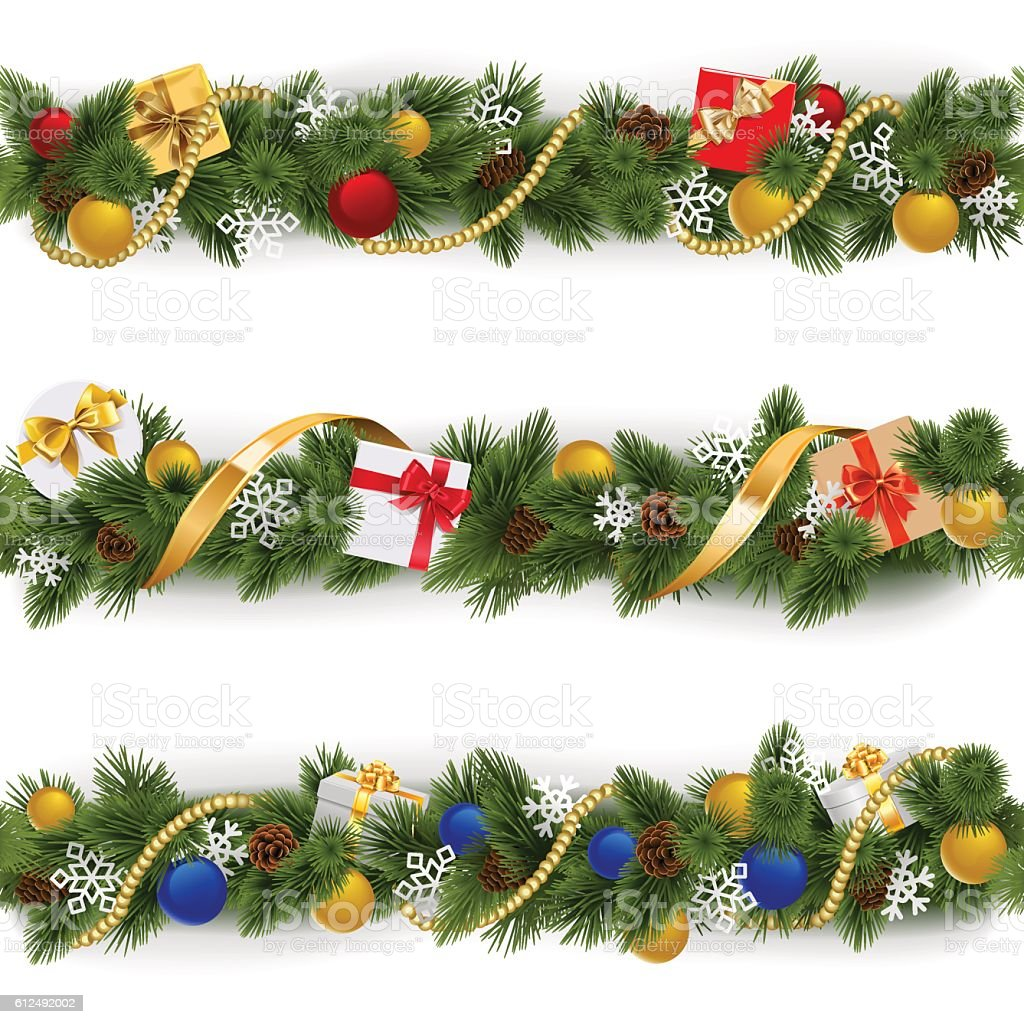 Vector Christmas Border Set 5 vector art illustration
