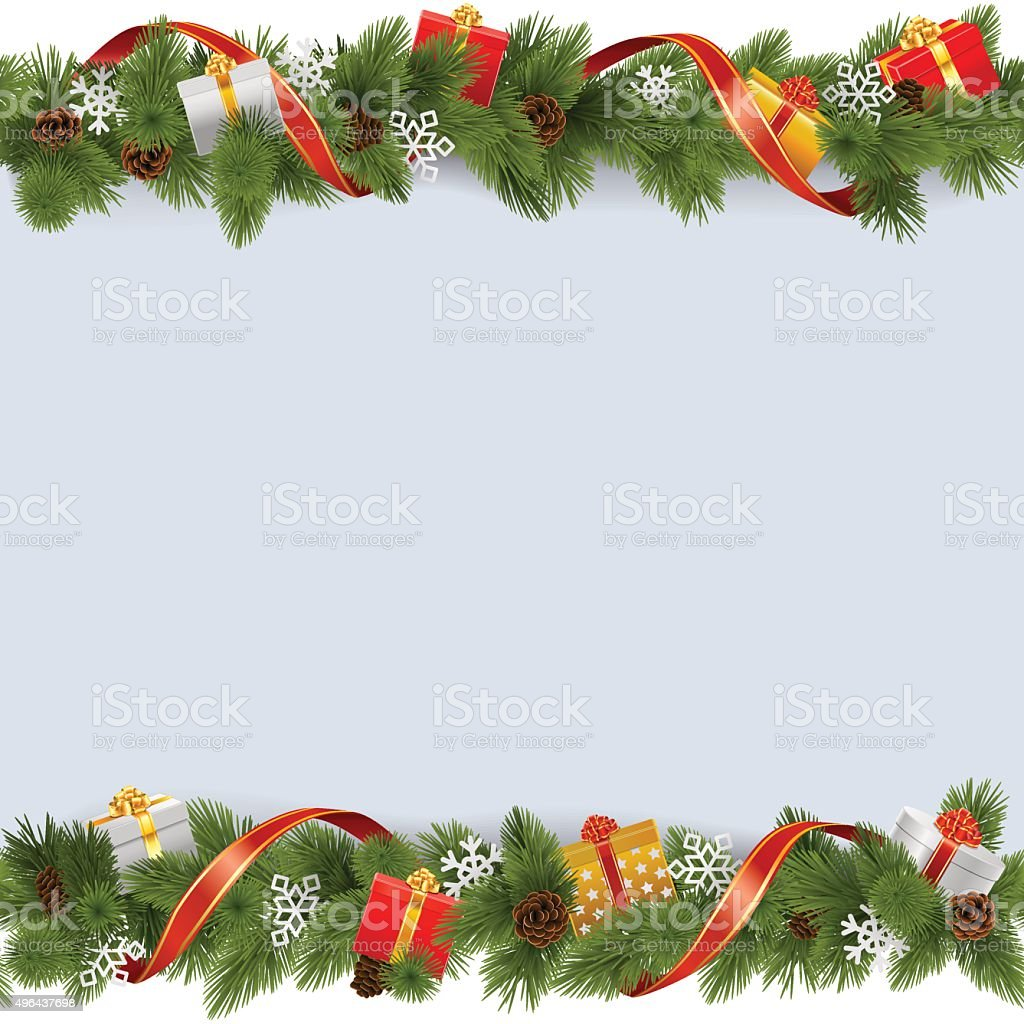 Vector Christmas Border with Gifts vector art illustration