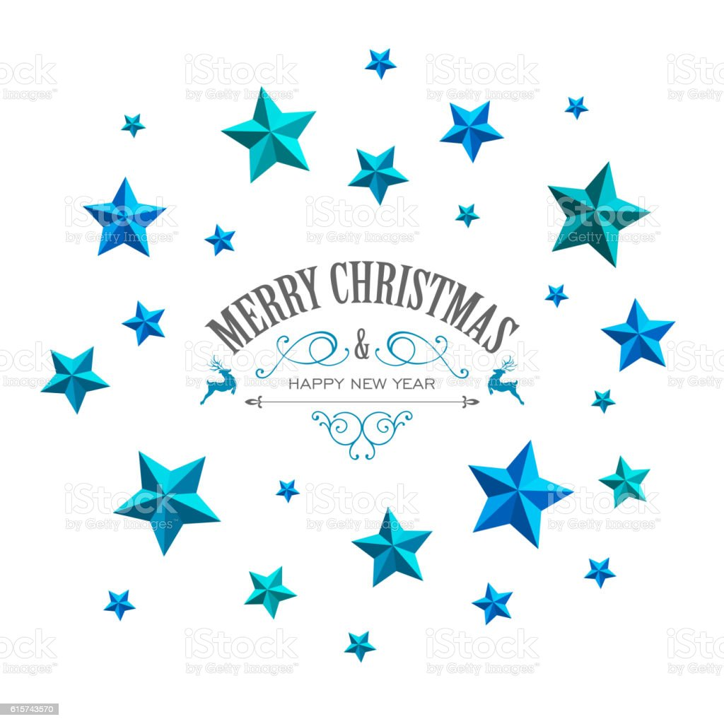 Vector Christmas Card Design with Blue Paper Stars vector art illustration