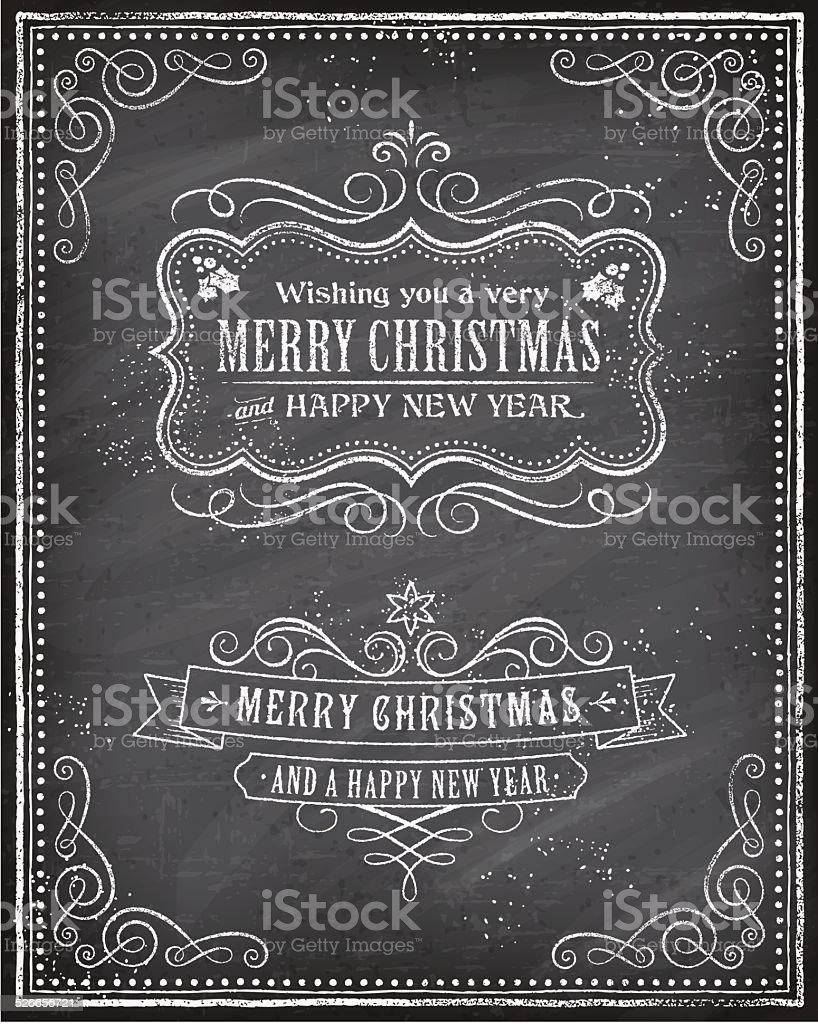 Vector Christmas Chalkboard Greeting Card vector art illustration