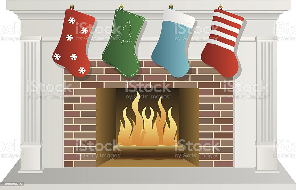 Vector Christmas Fireplace royalty-free stock vector art