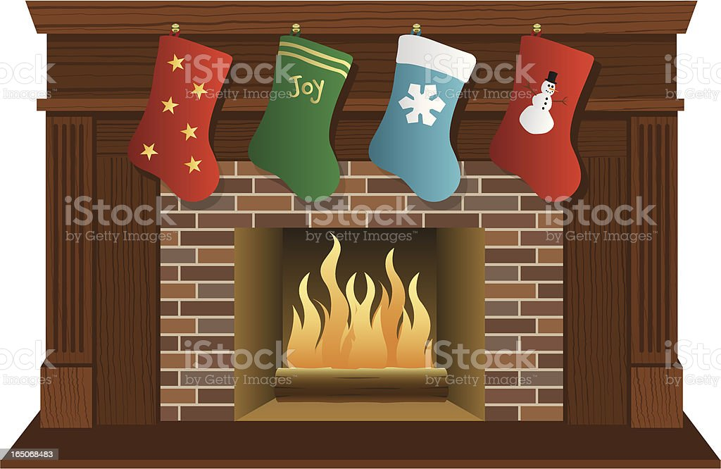Vector Christmas Fireplace Wood vector art illustration