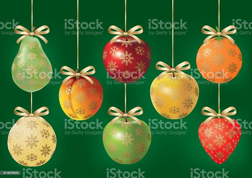 Vector Christmas Fruits vector art illustration