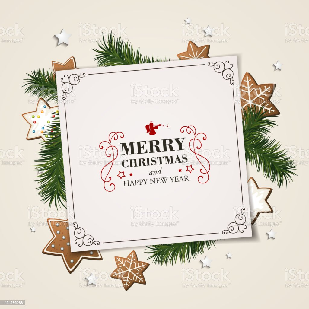 Vector Christmas Greeting Card with Cookies vector art illustration