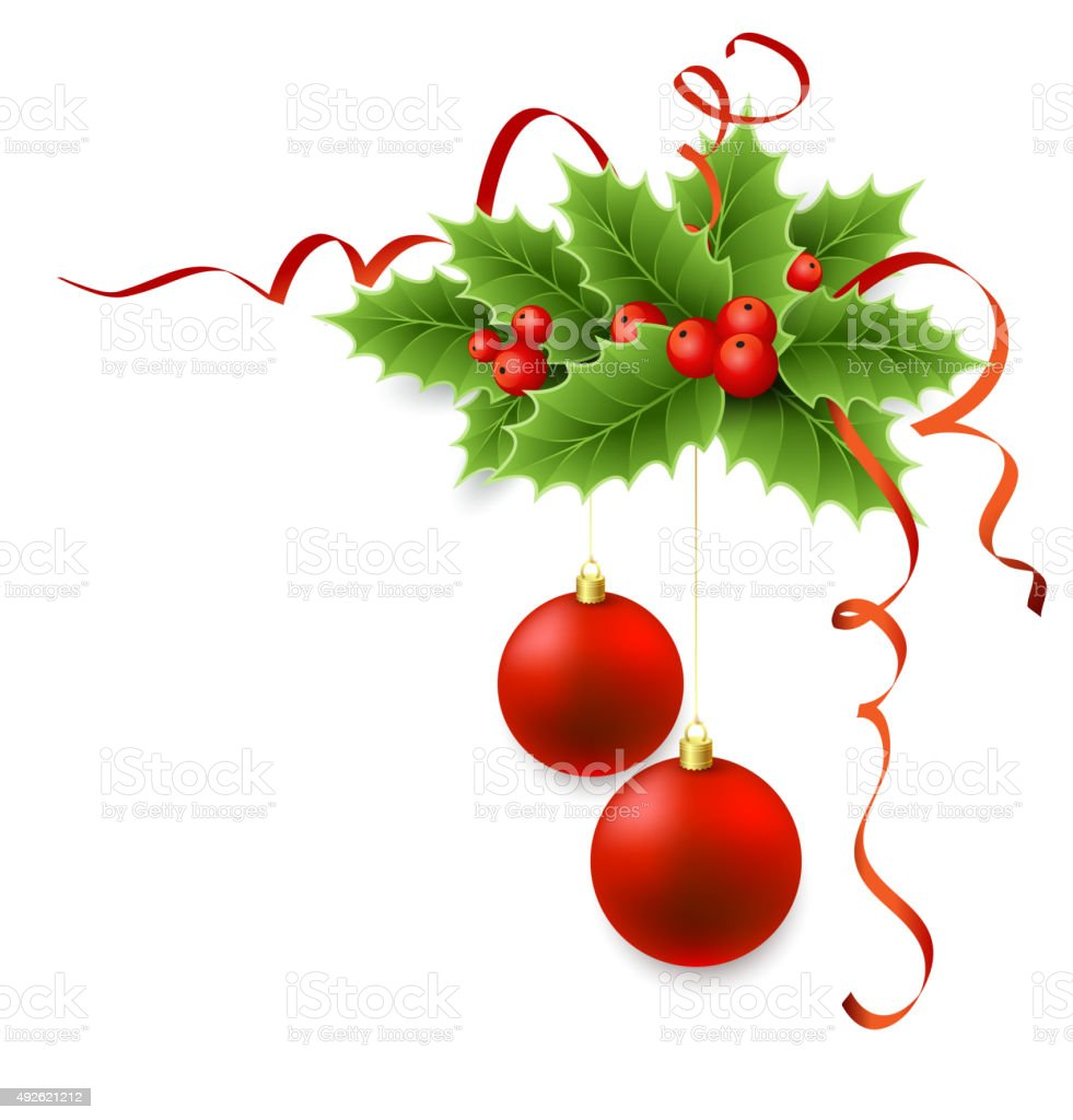 Vector Christmas holly with berries vector art illustration