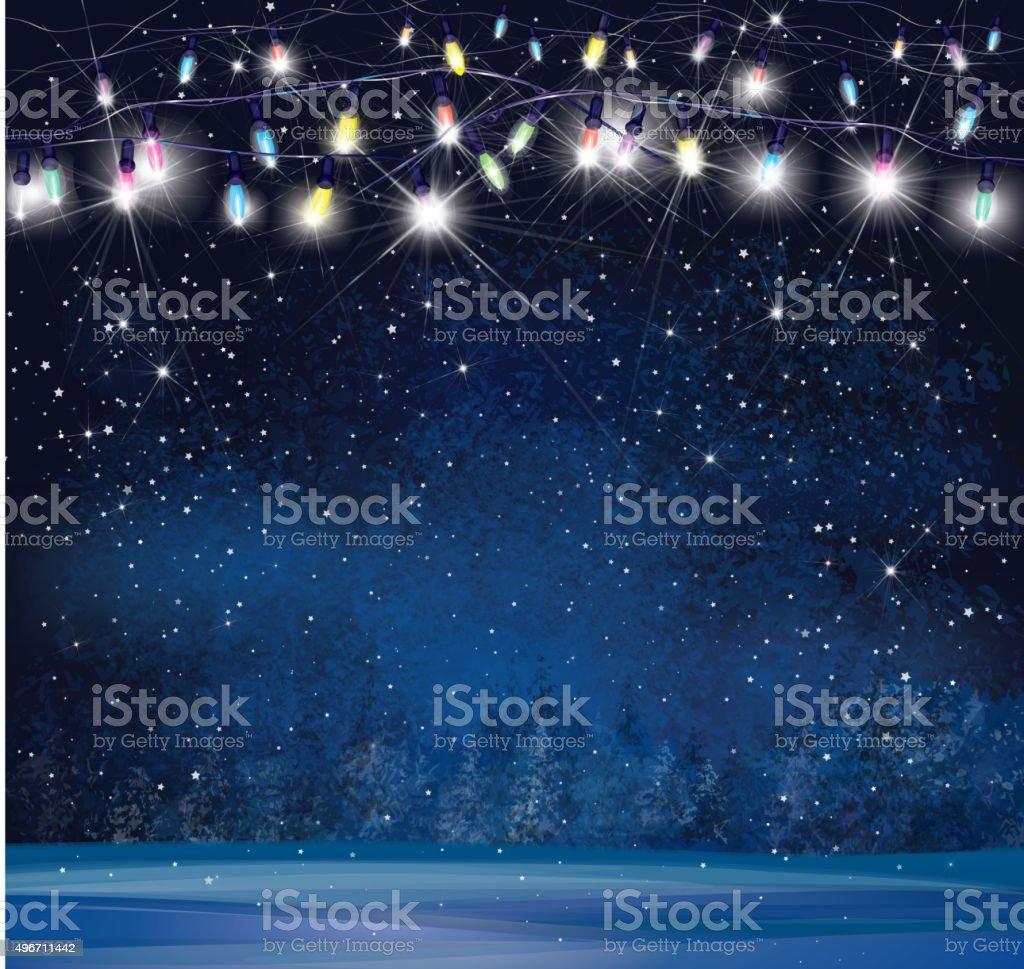 Vector Christmas lights on  night wonderland background. vector art illustration