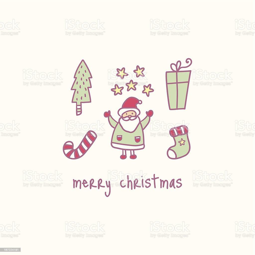 Vector Christmas retro icons royalty-free stock vector art