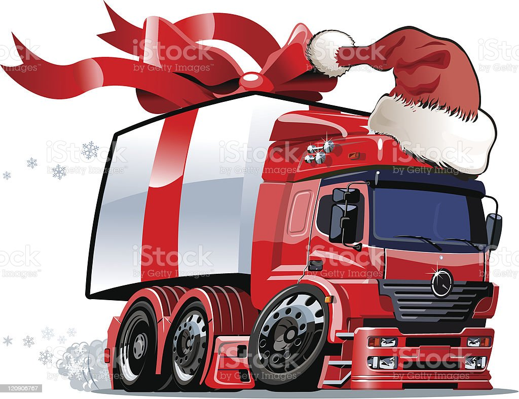 Vector Christmas truck one click repaint royalty-free stock vector art