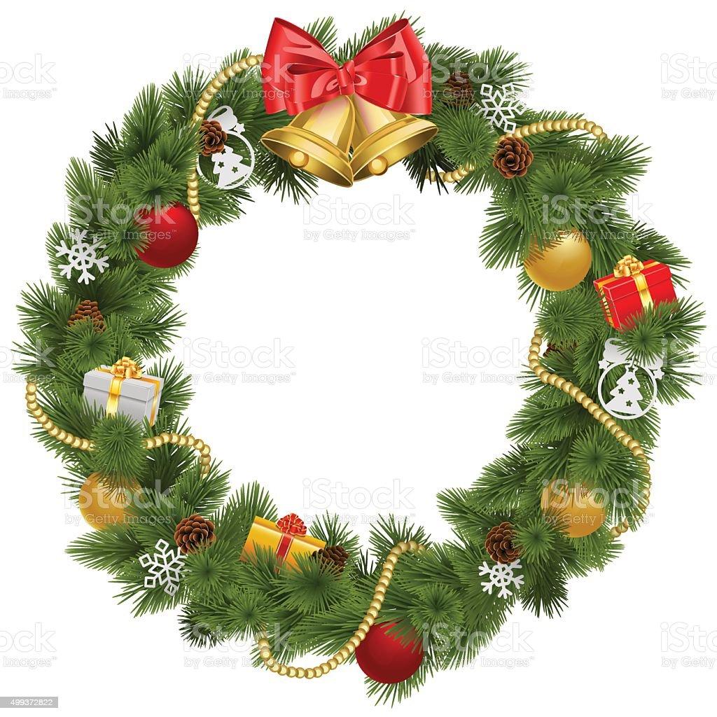 Vector Christmas Wreath with Golden Bells vector art illustration