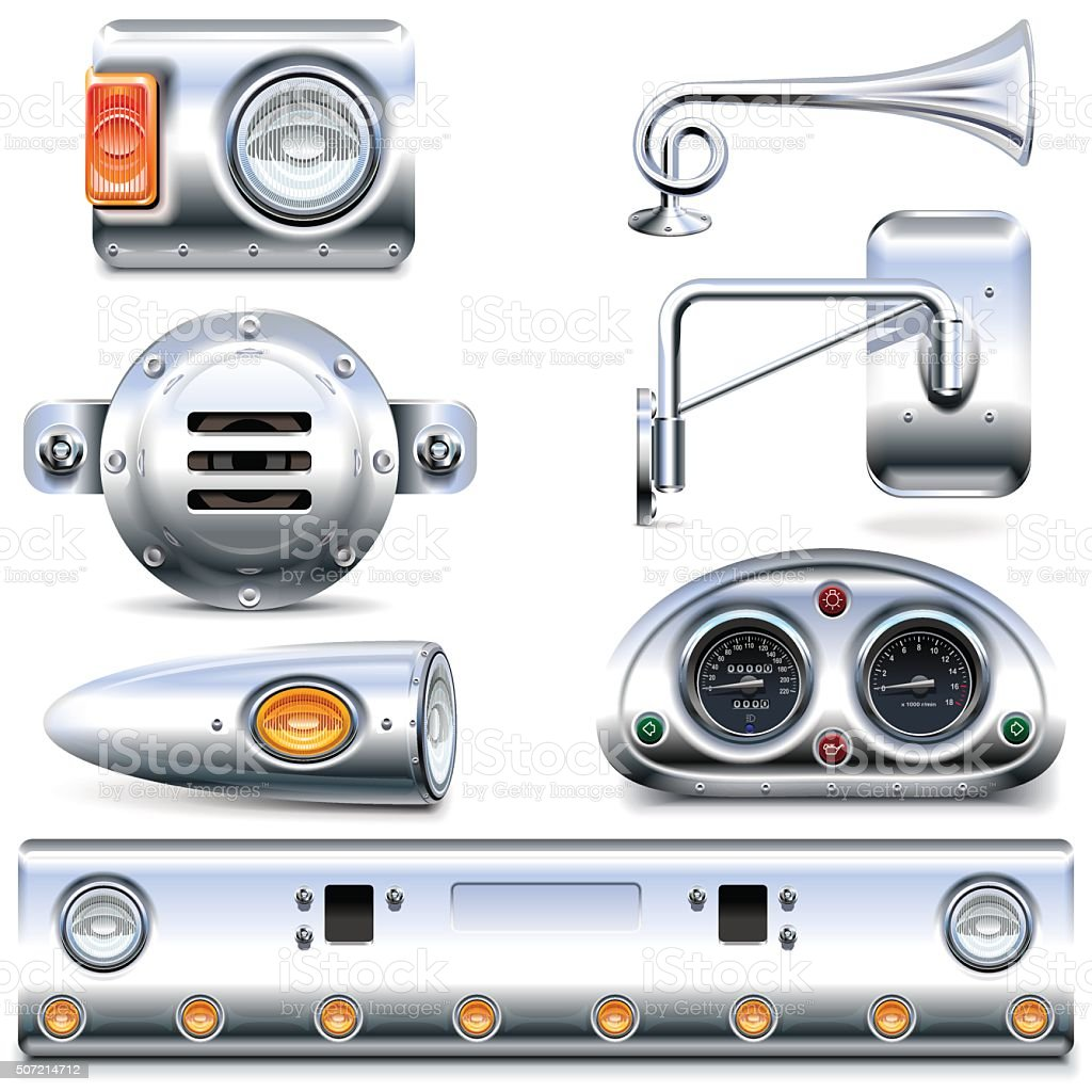 Vector Chromed Truck Parts Set 3 vector art illustration