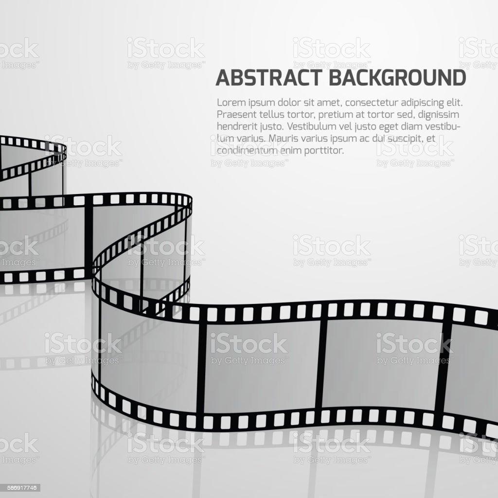 Vector cinema movie background with retro film strip roll vector art illustration