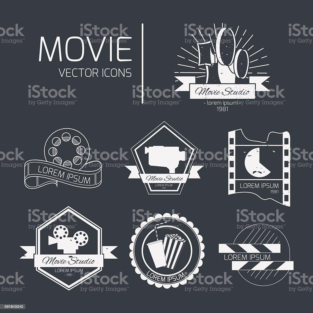 Vector cinema signs vector art illustration
