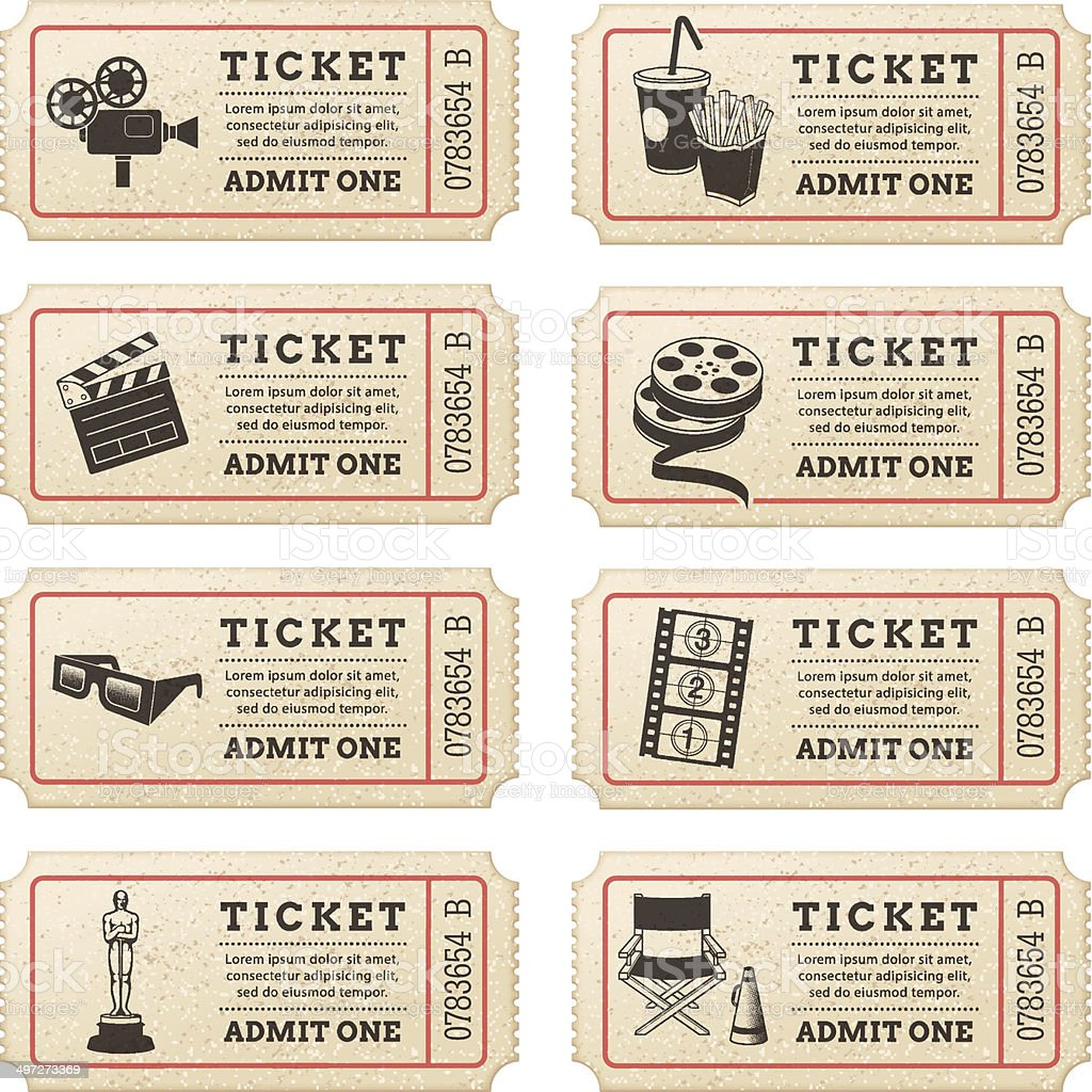 Vector Cinema tickets vector art illustration