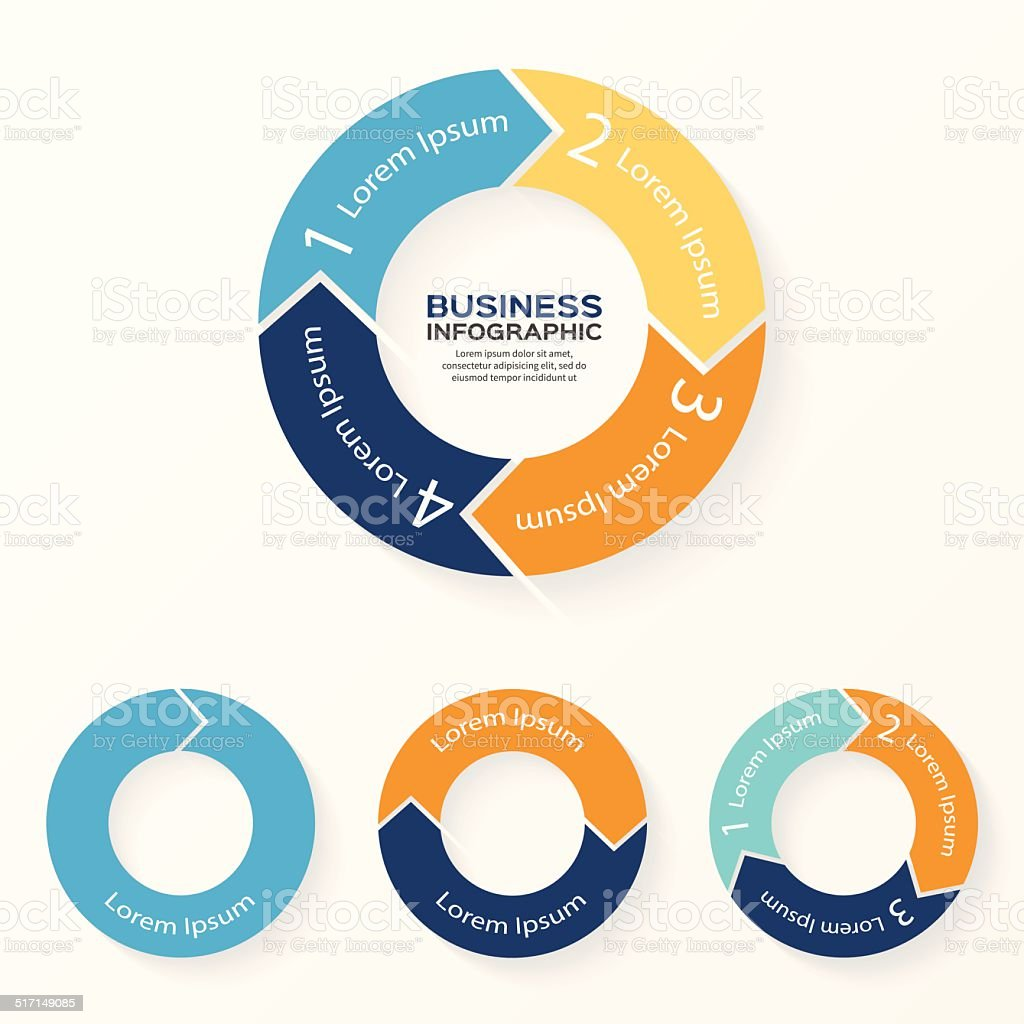 Vector circle arrows infographic 1, 2, 3, 4 options vector art illustration