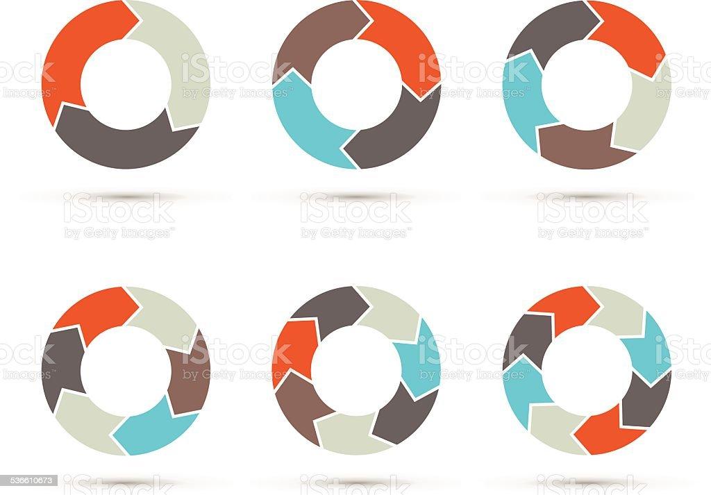 Vector circle arrows set for infographic. diagram. vector art illustration