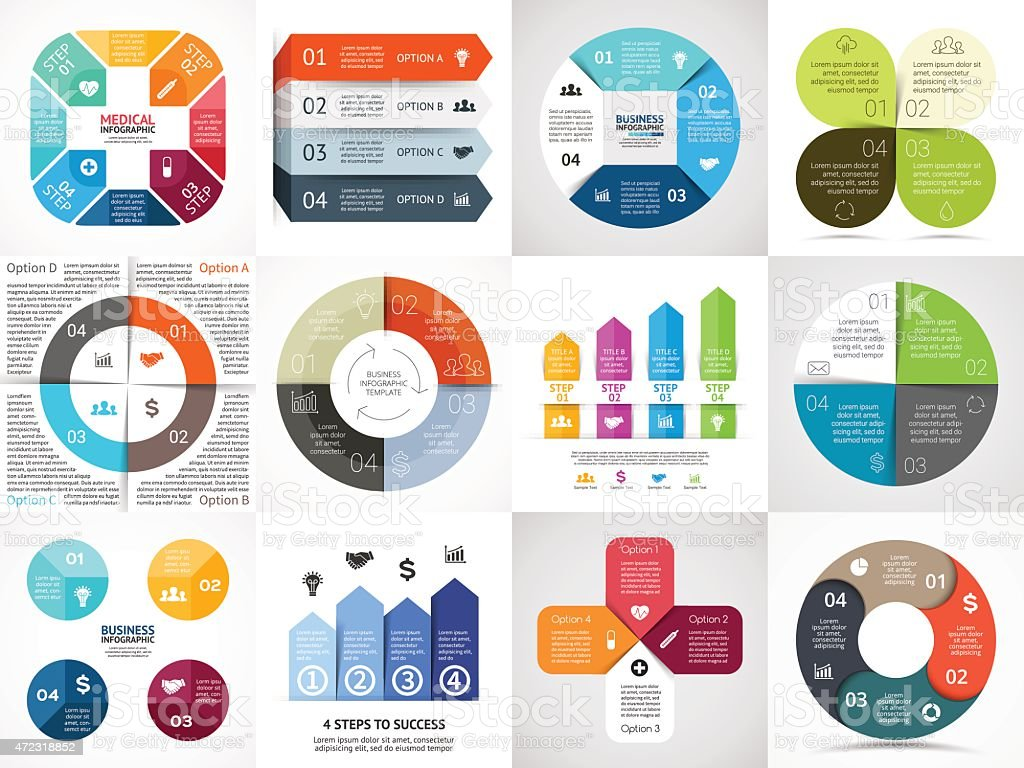 Vector circle arrows stripe infographics set. Template for cycle diagram vector art illustration