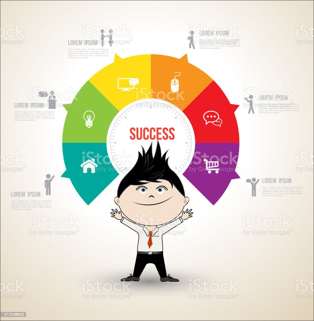 Vector circle concepts with business man vector art illustration