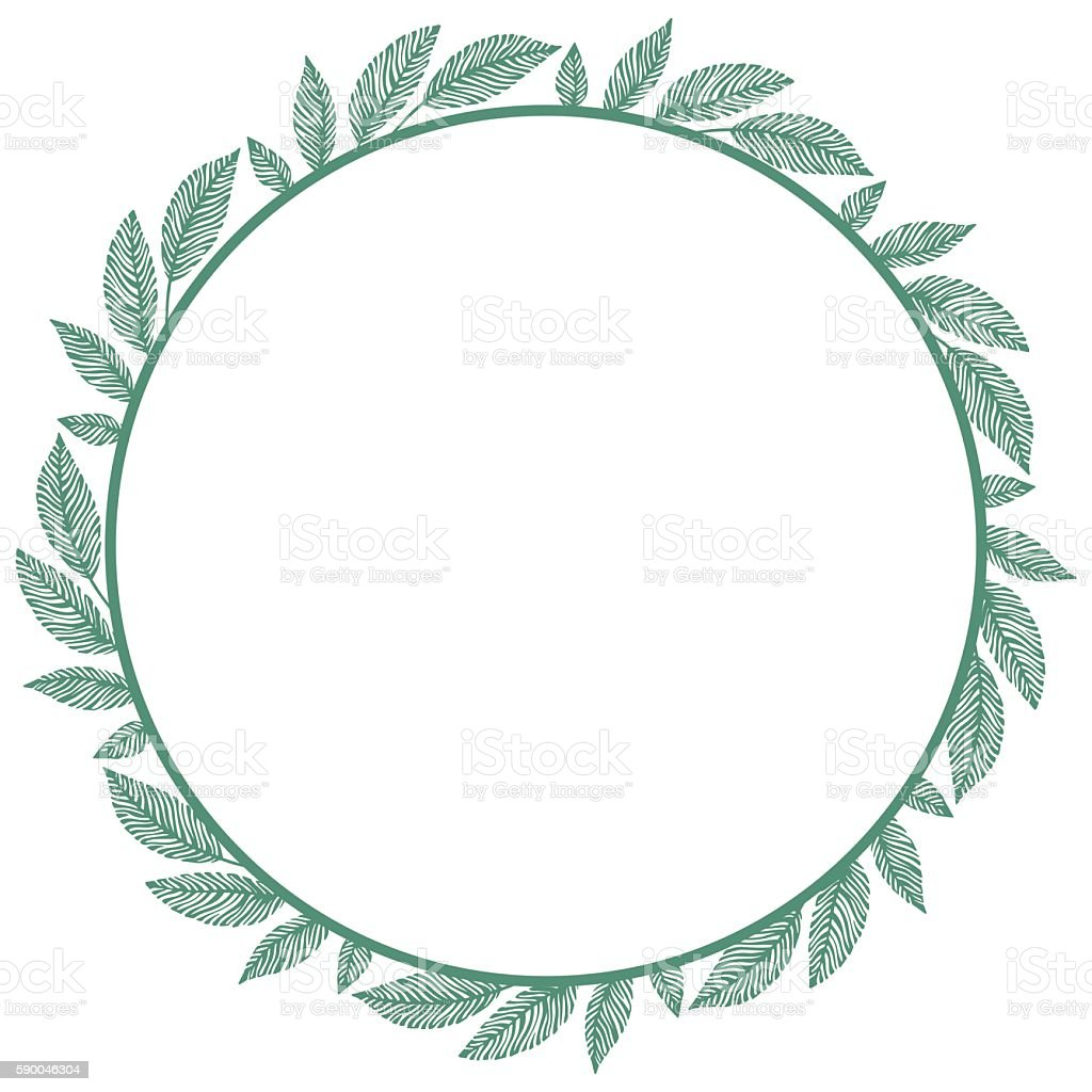 Round frame with decorative branch vector illustration stock - Vector Circle Frame Wreath Made Of Branches Circle Decoration Royalty Free Stock Vector